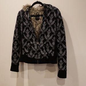 Fox fur lined hoodie